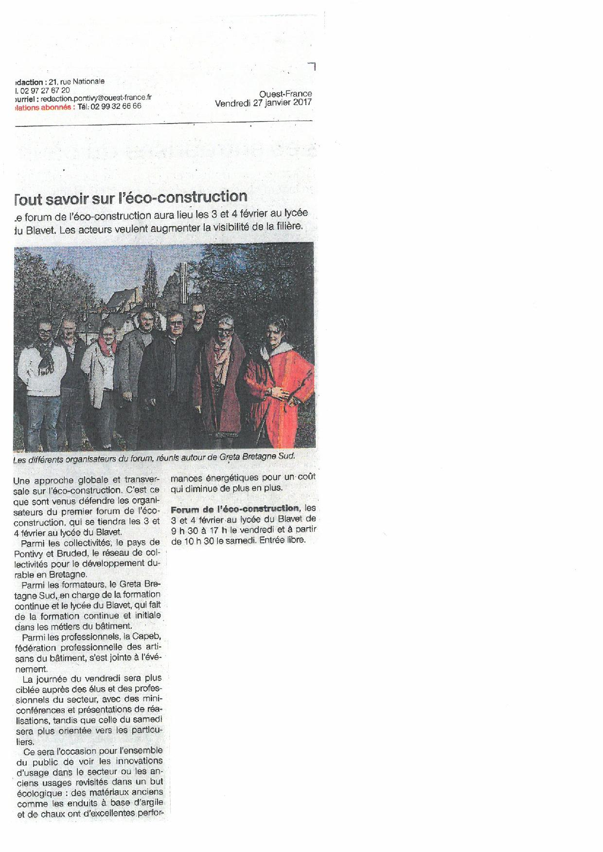 Article Ouest France du 270117 Eco Construction page 001
