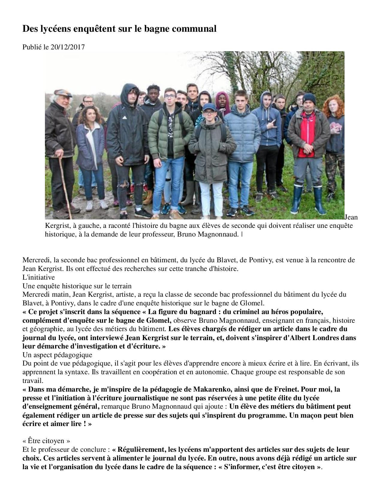 Article Ouest France du 20-12-17 Le bagne-page-001